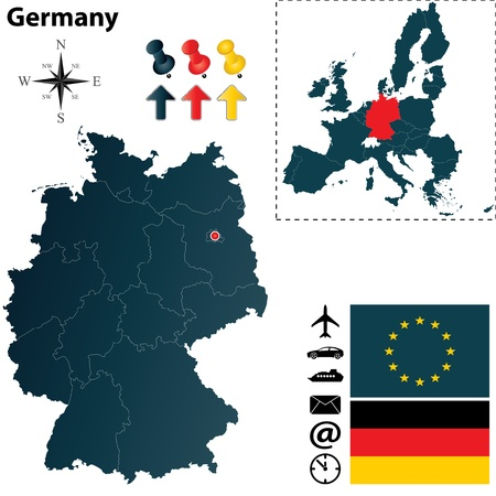 germany flag: Germany and European Union set with detailed country shape with region borders, flags and icons Illustration