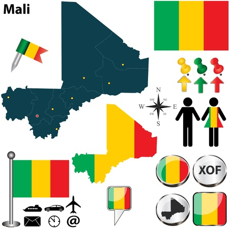 mali: Mali set with detailed country shape with region borders, flags and icons Illustration