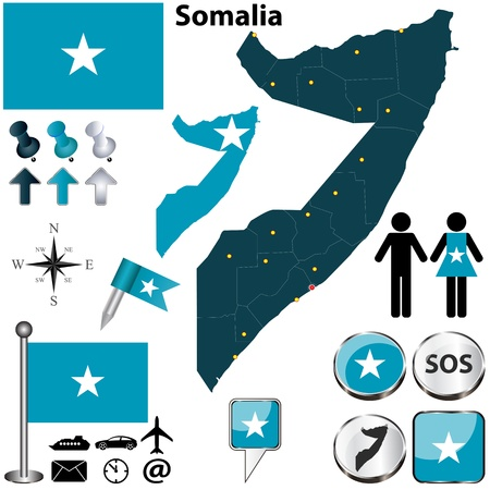 boundaries: Somalia set with detailed country shape with region borders, flags and icons
