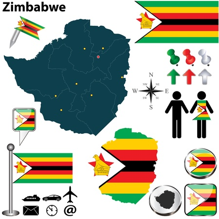 Zimbabwe set with detailed country shape with region borders, flags and icons Vector