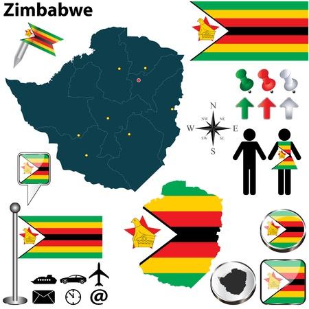 zimbabwe: Zimbabwe set with detailed country shape with region borders, flags and icons