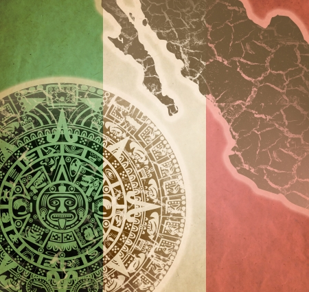 Background in American Indian Style with Mayan calendar, Mexican flag and map on old paper