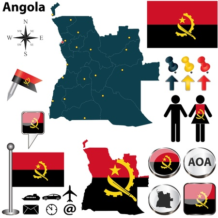 Angola set with detailed country shape with region borders, flags and icons Vector