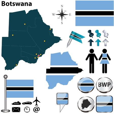 Botswana set with detailed country shape with region borders, flags and icons