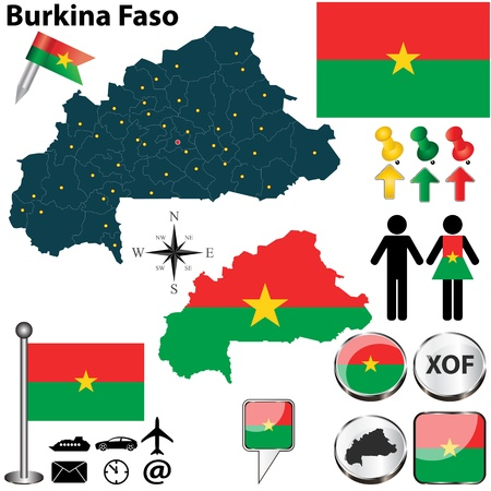 burkina faso: Burkina Faso set with detailed country shape with region borders, flags and icons