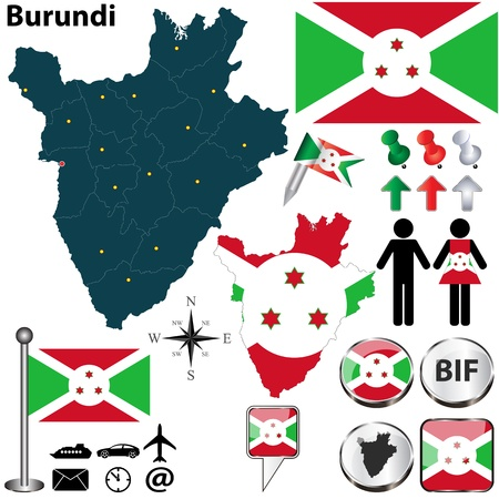 Burundi set with detailed country shape with region borders, flags and icons Vector