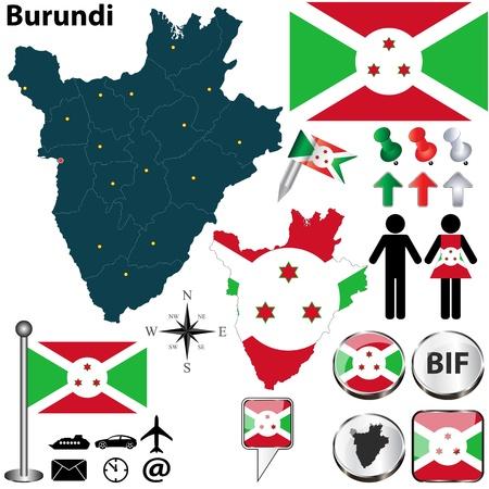 burundi: Burundi set with detailed country shape with region borders, flags and icons