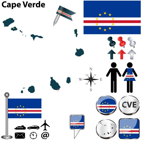 praia: Cape Verde set with detailed country shape with region borders, flags and icons