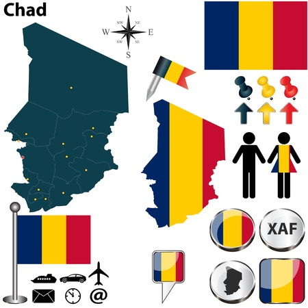 chadian: Chad set with detailed country shape with region borders, flags and icons