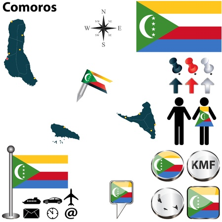 comoros: Comoros set with detailed country shape with region borders, flags and icons
