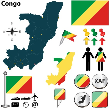 republic of the congo: Congo set with detailed country shape with region borders, flags and icons Illustration