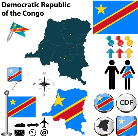 republic of the congo: Democratic Republic of the Congo set with detailed country shape with region borders, flags and icons