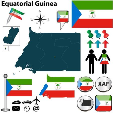 guinea equatoriale: Vettore della Guinea Equatoriale set con forma dettagliata paese con i confini regione, bandiere e icone