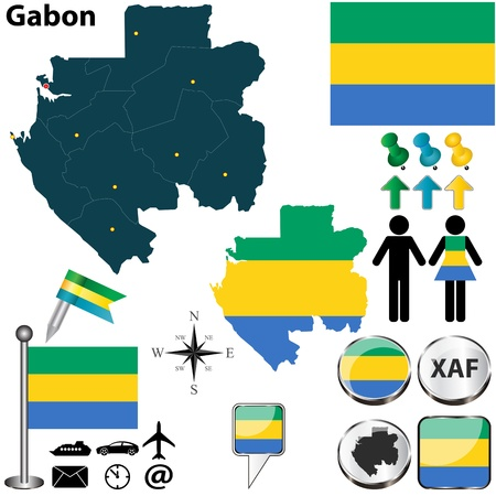 gabon: Vector of Gabon set with detailed country shape with region borders, flags and icons