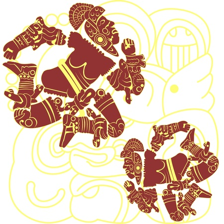 toltec: Vector of set of mayan and aztec warriors on white