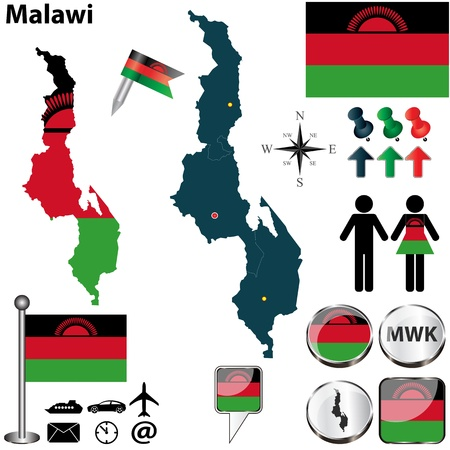 malawi: Vector of Malawi set with detailed country shape with region borders, flags and icons Illustration
