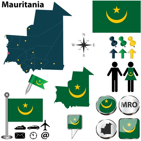 Vector of Mauritania set with detailed country shape with region borders, flags and icons Vector