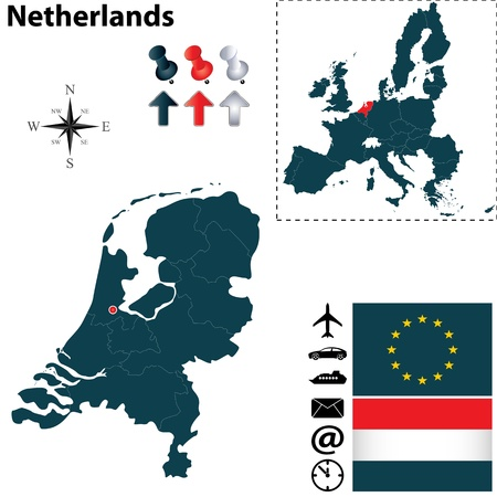 Vector set of Netherlands and European Union shape with flags Vector