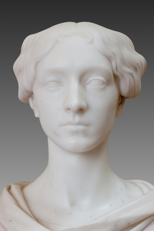 ladies bust: Marble bust of a beautiful lady on gray background Stock Photo