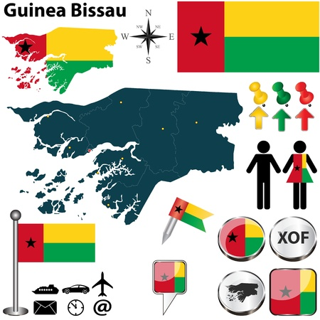 guinea bissau: Vector of Guinea Bissau set with detailed country shape with region borders, flags and icons Illustration