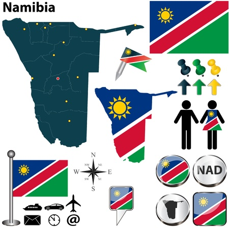 namibia: Vector of Namibia set with detailed country shape with region borders, flags and icons