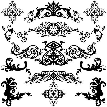 Vector set di elementi di design vintage su bianco Archivio Fotografico - 22631807