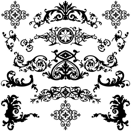 Vector set of vintage design elements on white