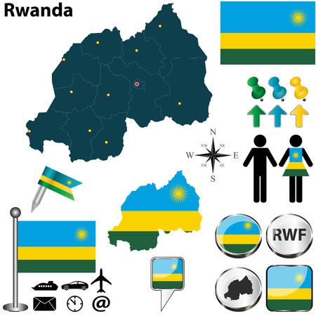 kigali: Vector of Rwanda set with detailed country shape with region borders, flags and icons