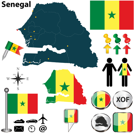 divisions: Vector of Senegal set with detailed country shape with region borders, flags and icons