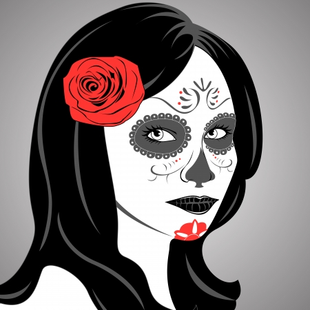 Vector of Sugar Skull Lady with face paint for Day of the Dead  Dia de los Muertos  Vector