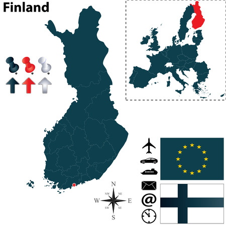 finland: Vector set of Finland country shape with flags on white background Illustration
