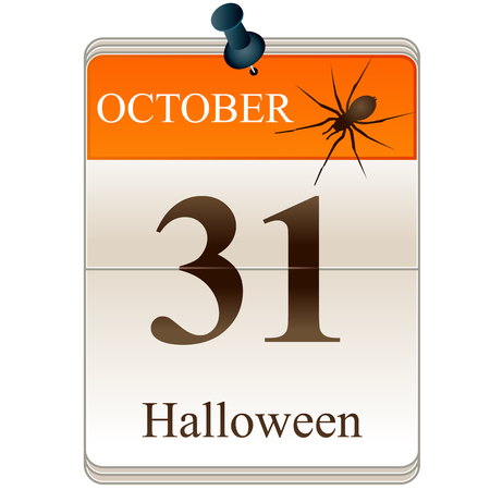 cartoon calendar: Vector of Calendar of Halloween with spider Illustration