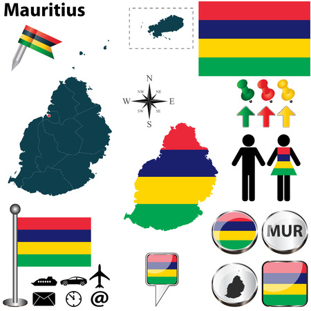 mauritius: Vector of Mauritius set with detailed country shape with region borders, flags and icons Illustration