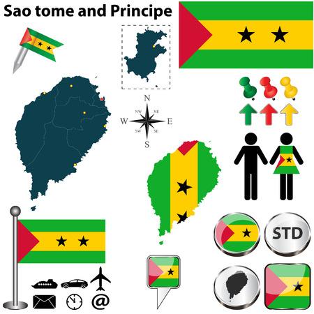 principe: Vector de Santo Tomé y Príncipe con el conjunto forma detallada los países con fronteras región, banderas e iconos Vectores