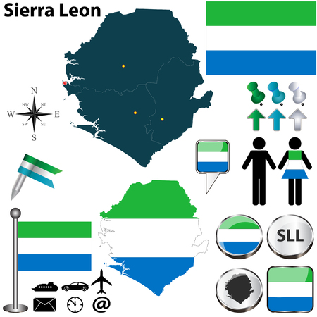 Vector of Sierra Leon set with detailed country shape with region borders, flags and icons Illustration
