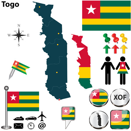 togo: Vector of Togo set with detailed country shape with region borders, flags and icons