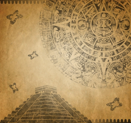 Background in American Indian Style with Mayan calendar and pyramid on old paper photo