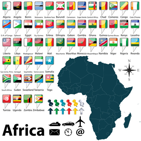 comoros: Vector of Africa set with buttons and flags on white background Illustration