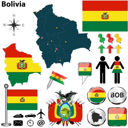 Vector of Bolivia set with detailed country shape with region borders, flags and icons