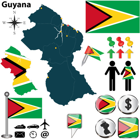 georgetown: Vector of Guyana set with detailed country shape with region borders, flags and icons Illustration