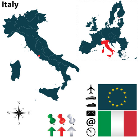 european map: Vector set of Italy country shape with flags, icons isolated and European Union