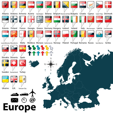 europa: Vector of political map of Europe set with buttons flags on white background Illustration
