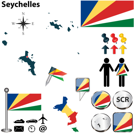 seychelles: Vector of Seychelles set with detailed country shape with region borders, flags and icons Illustration
