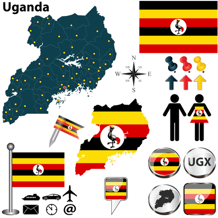 Vector of Uganda set with detailed country shape with region borders, flags and icons Vector