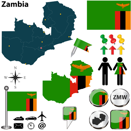 zambian: Vector of Zambia set with detailed country shape with region borders, flags and icons Illustration