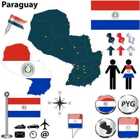 bandera de paraguay: Vector de Paraguay establece en forma detallada los países con fronteras región, banderas e iconos Vectores