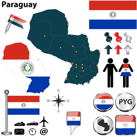 paraguay: Vector of Paraguay set with detailed country shape with region borders, flags and icons