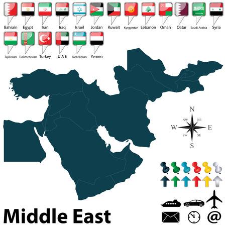 Vecteur de carte politique du Moyen-Orient fixé avec des boutons drapeaux sur fond blanc