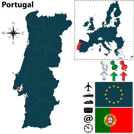 Vector set of Portugal country shape with flags, icons isolated and European Union Vector