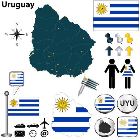 bandera de uruguay: Vector del Uruguay establece con forma detallada los países con fronteras región, banderas e iconos